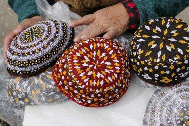 3 skull-caps. Turkmenistan. Ashkhabad market.