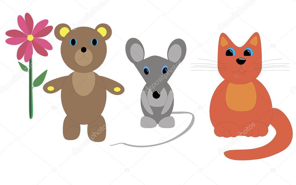 Disegno Di Un Bambino : Bambino di un gatto disegno del mouse e sopportare con un fiore
