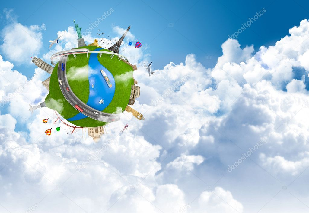 Traveling the world dream globe concept