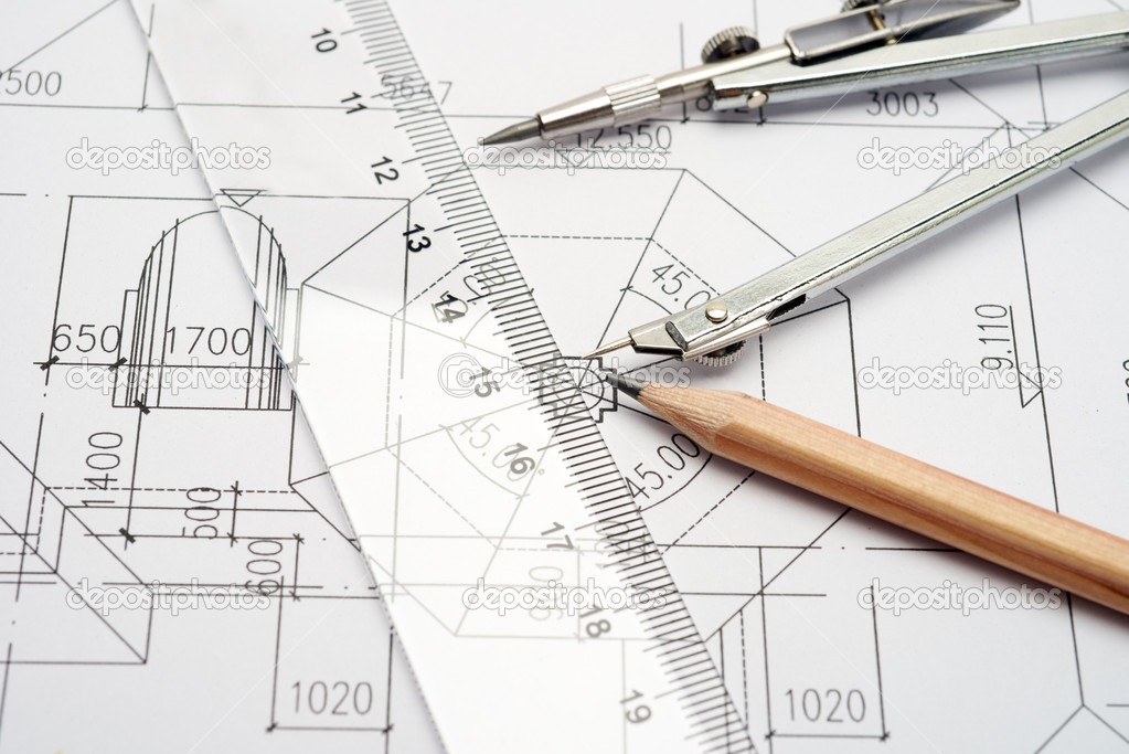 Engineering Design And Drawing Tools Stock Photo