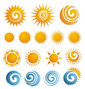 Collection of isolated Sun icons and design elements stock vector