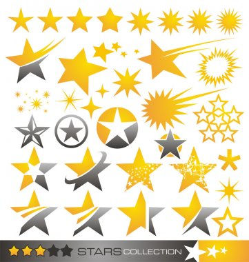 Set of star icons and logos stock vector
