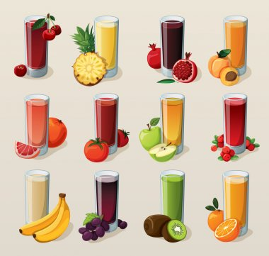 Set of tasty fresh squeezed juices. stock vector