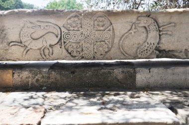 Ancient Agora - Athens Greece - Decorated stone bank