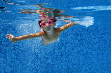 Happy underwater child in swimming pool