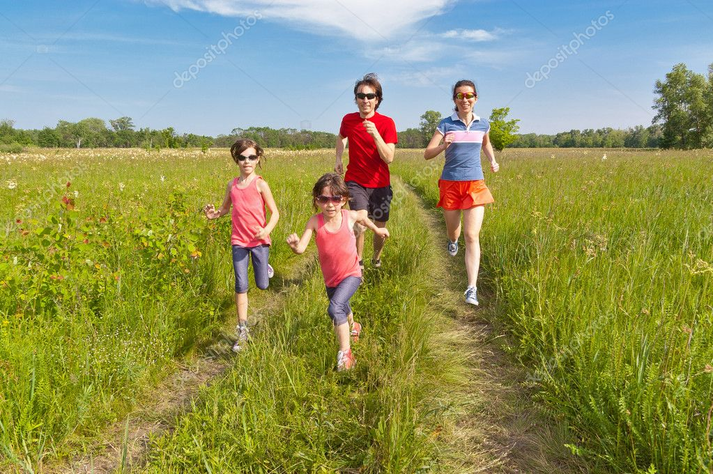 Family sport, jogging outdoors