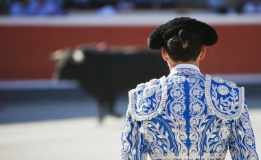 Bullfighter facing the bull