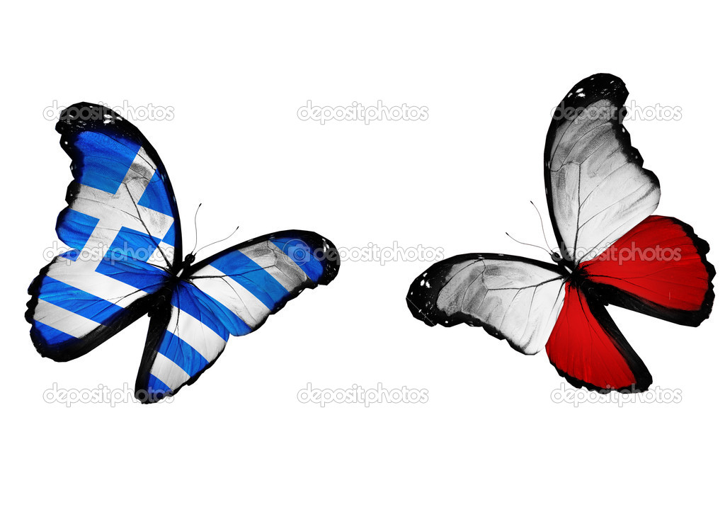 Concept - two butterflies with Greek and Polish flags flying