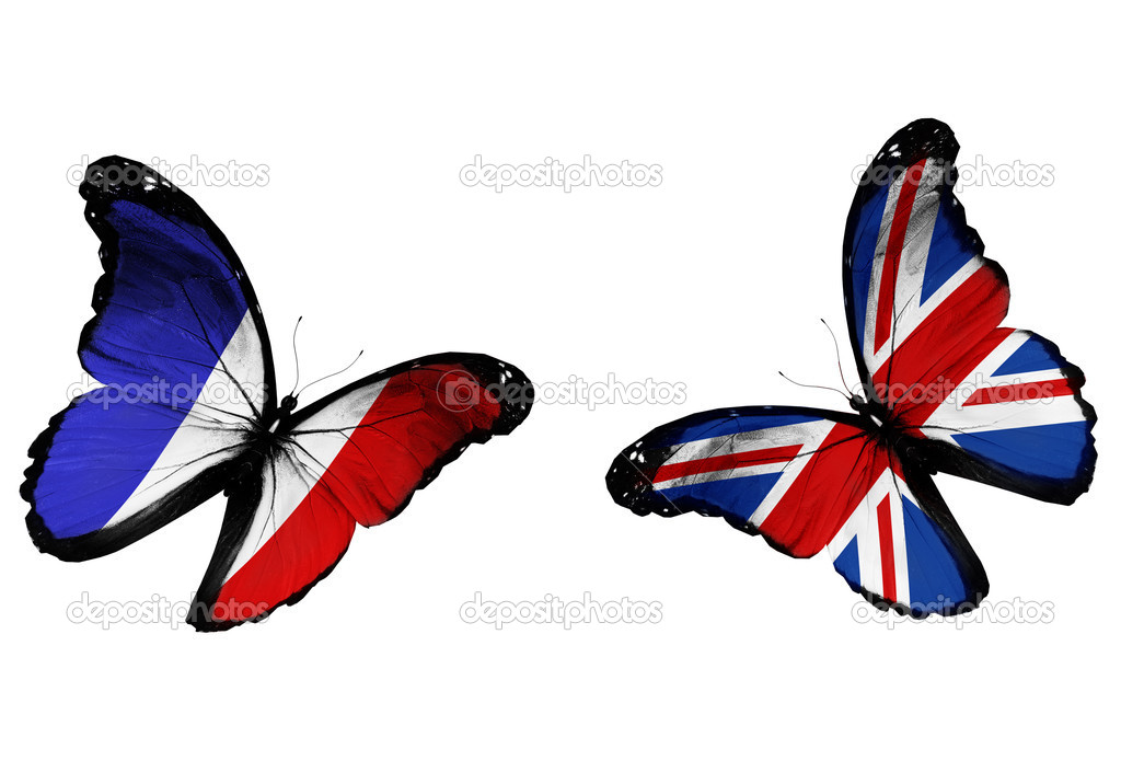 Concept - two butterflies with French and English flags flying