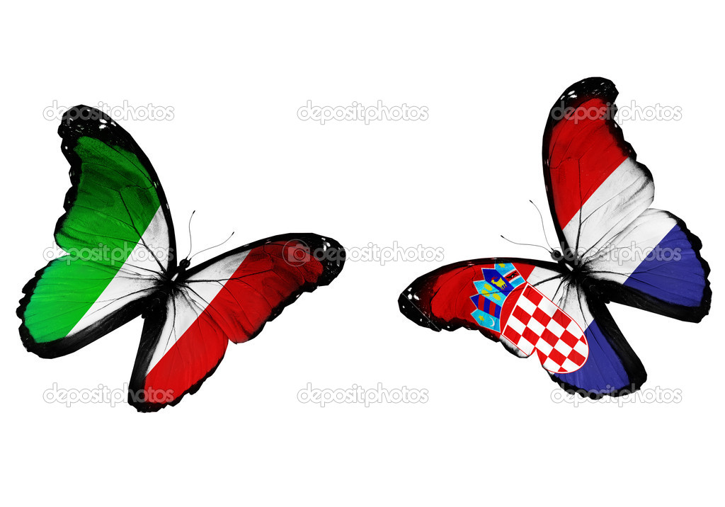 Concept - two butterflies with Italian and Croatian flags flying