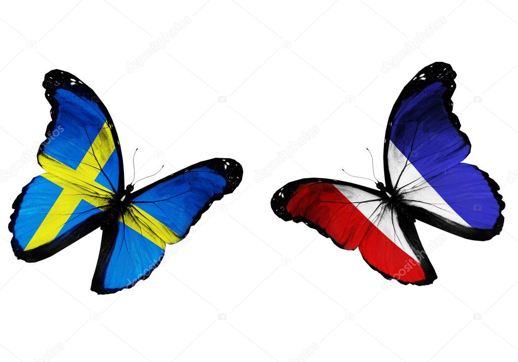 Concept - two butterflies with Swedish and French flags flying