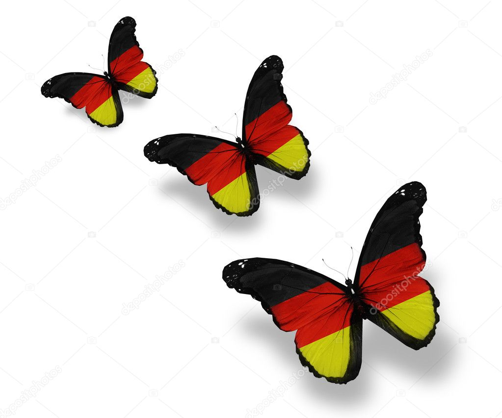 Three Germany flag butterflies, isolated on white