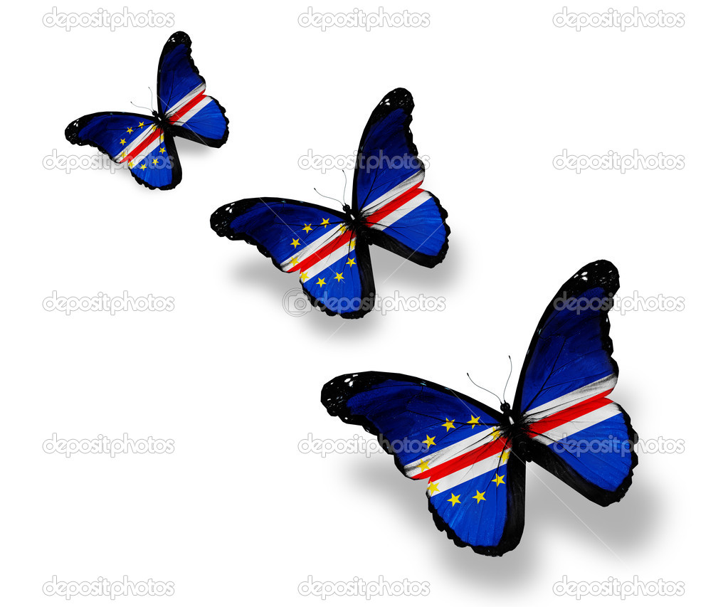 Three Republic of Cape Verde flag butterflies, isolated on white