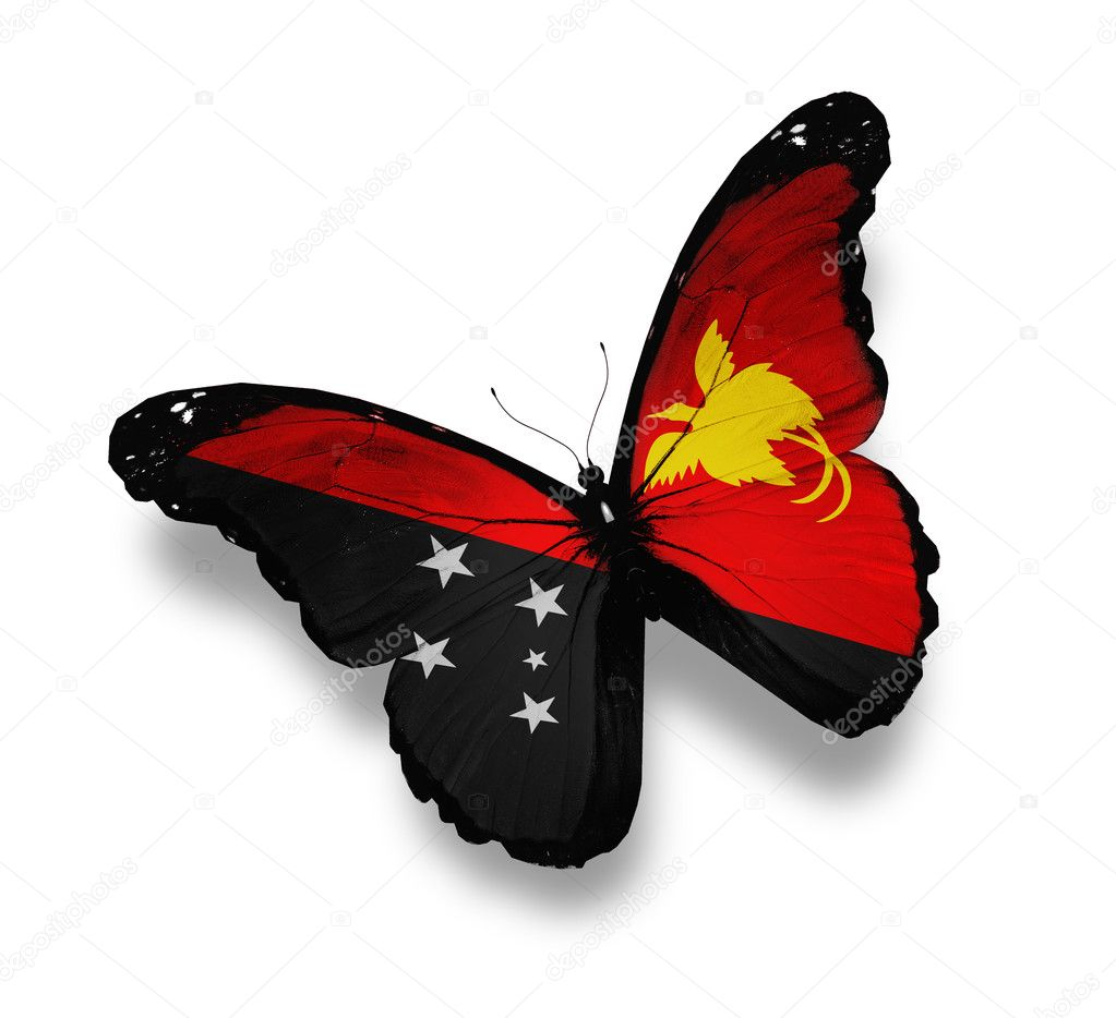 Papua New Guinea flag butterfly, isolated on white