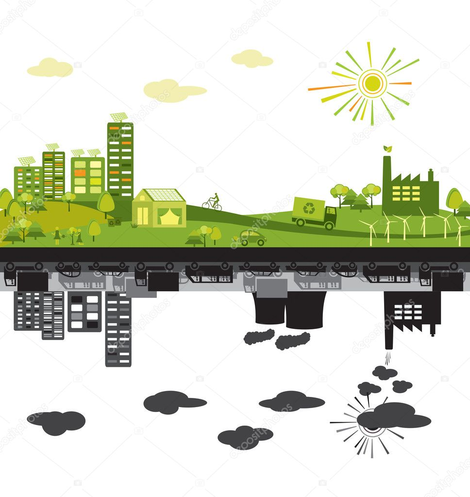 Green city and polluted