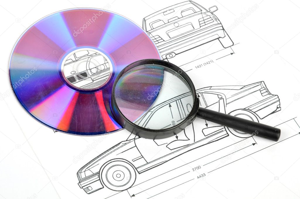 Car blueprint stock photo anaken2012 12055411 blueprint and dvd with magnifier photo by anaken2012 malvernweather Images