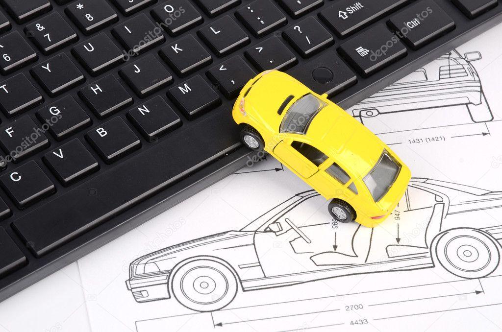 Computer-Tastatur und Auto-Blaupause — Stockfoto © anaken2012 #12094721