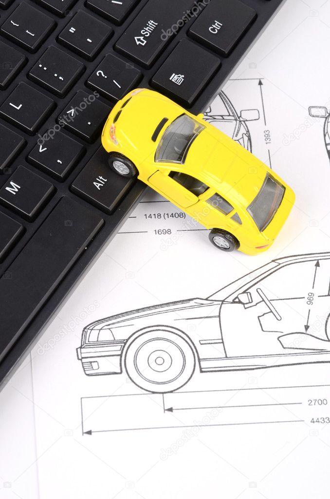 Computer-Tastatur und Auto-Blaupause — Stockfoto © anaken2012 #12094741