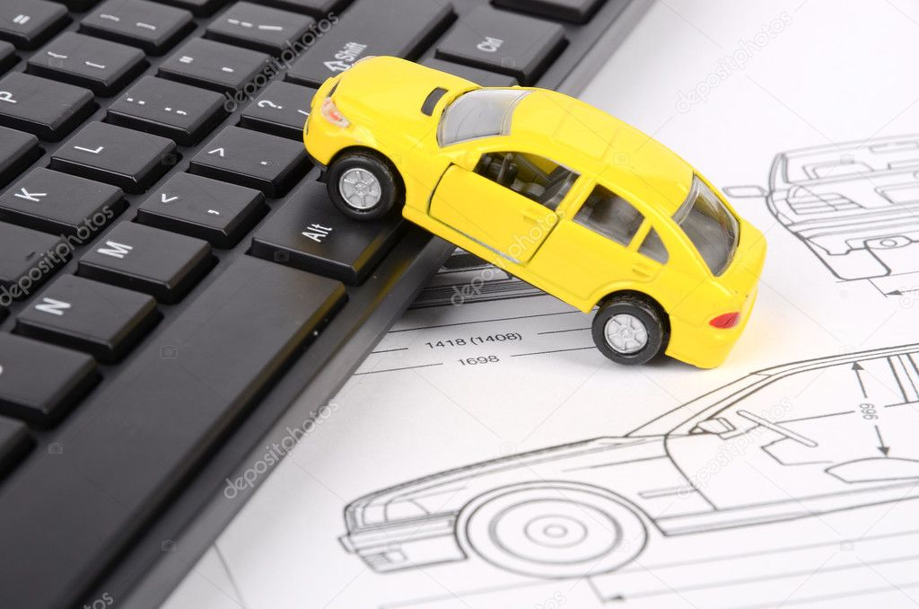 Computer keyboard and car blueprint — Stock Photo © anaken2012 #12094802