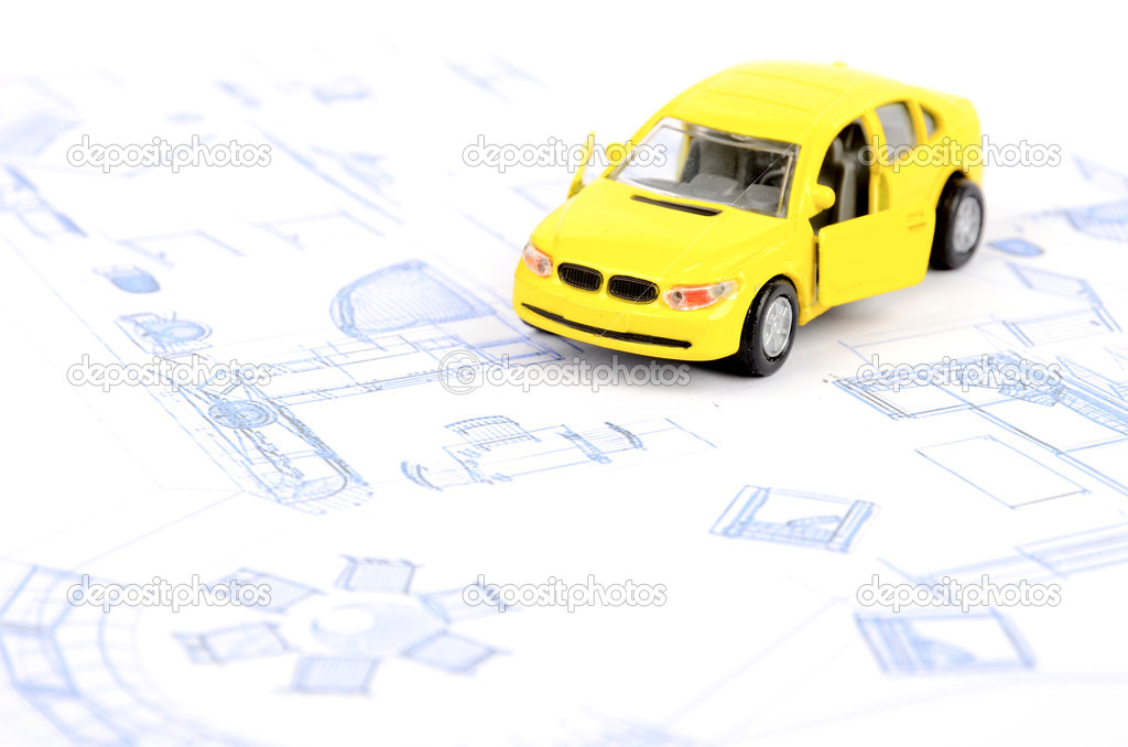 Toy car and blueprint stock photo anaken2012 12145955 toy car and blueprint stock photo malvernweather Images