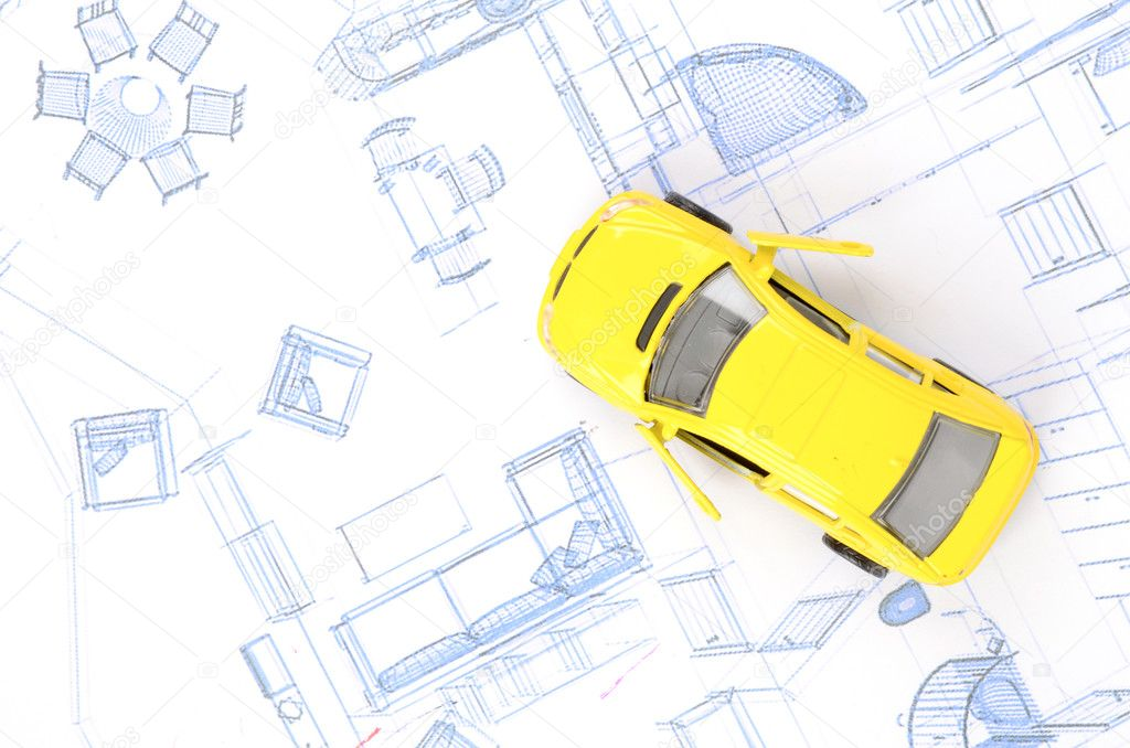 Toy car and blueprint stock photo anaken2012 12145967 toy car and blueprint stock photo malvernweather Images
