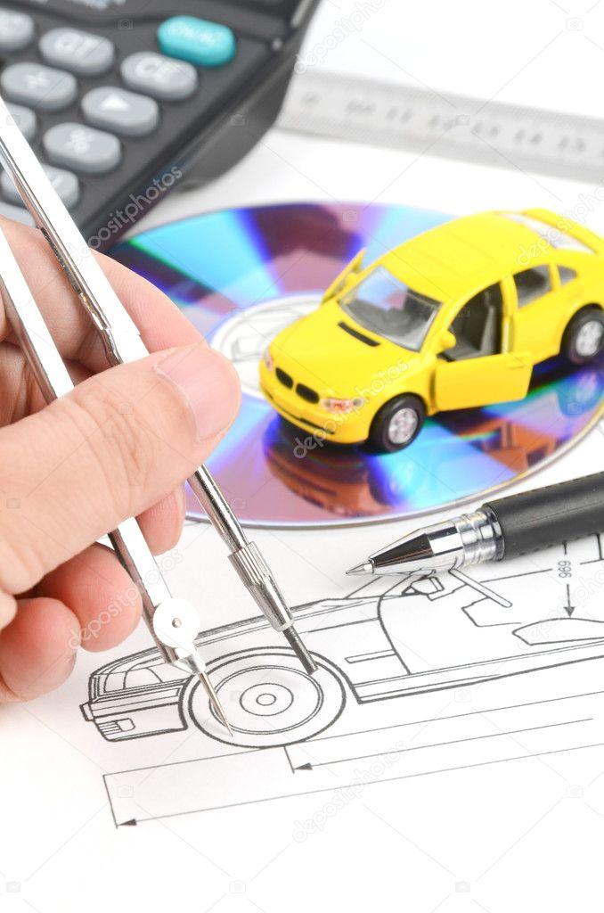 Toy car and blueprint — Stock Photo © anaken2012 #12183671