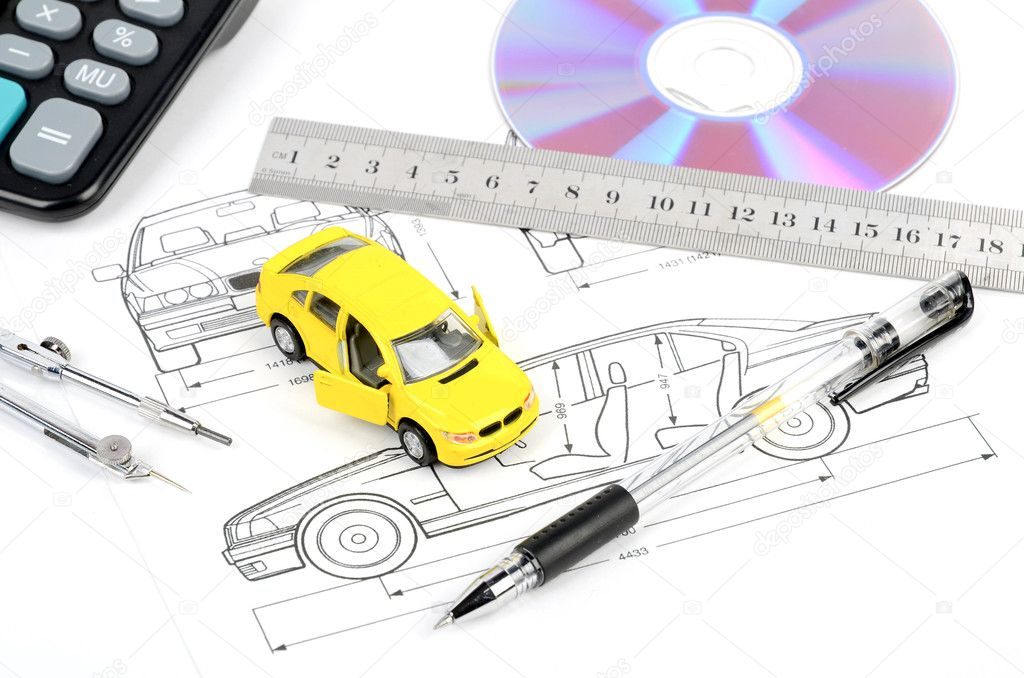 Toy car and blueprint — Stock Photo © anaken2012 #12183717