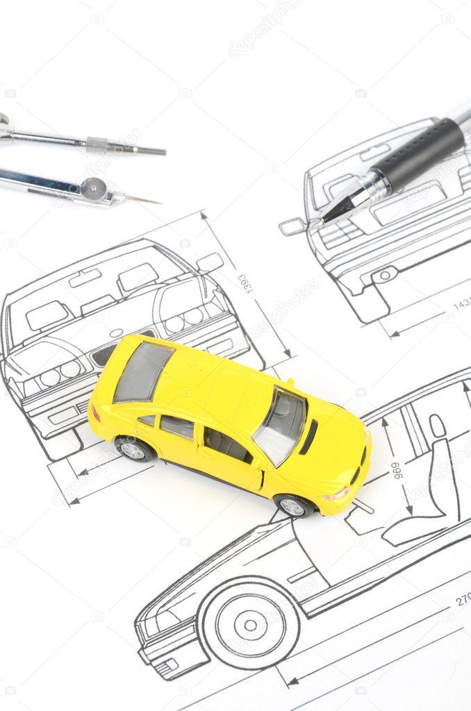 Toy car on blueprint — Stock Photo © anaken2012 #12183736