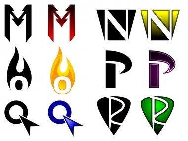 Superhero or athletics symbols m-r