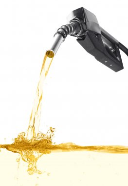 Stock image of fuel nozzle pouring gasoline over white background stock vector