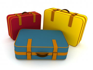 Suitcases on a white background