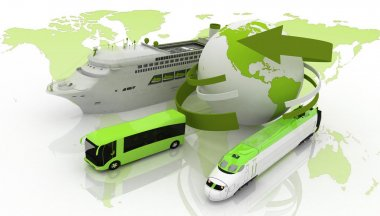 Marine liner, yacht and train on a background map of the world. types of transport for a cruise stock vector