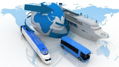 Marine liner, bus and train on a background map of the world. types of transport for a cruise stock vector