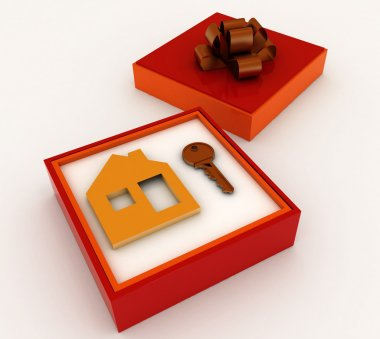 Key and symbol of house in red gift box