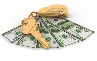 Trinket for the keys to the car and dollars on the white