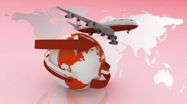 Passenger jet airplane travels around the world