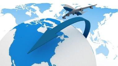 3d passenger jet airplane travels around the world
