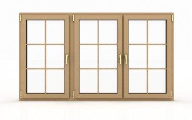 Closed plastic window on white