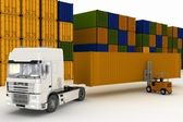 Načítání kontejnerů na velké auto v skladování venku