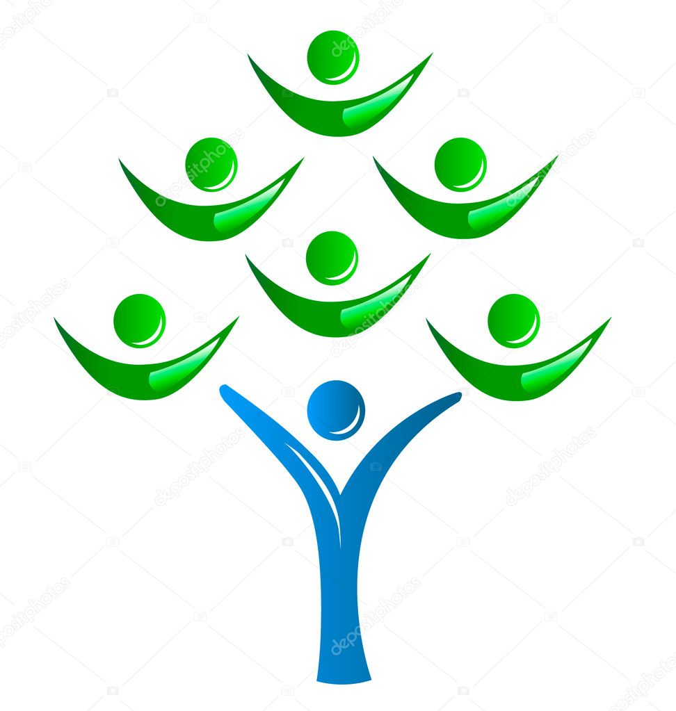 Teamwork as a tree logo