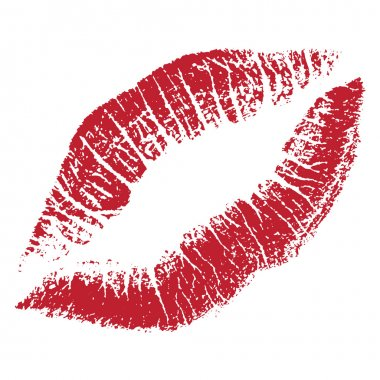 Vector red lips print illustration