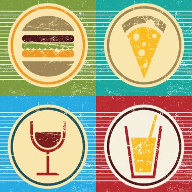 Vector retro food and drink icons