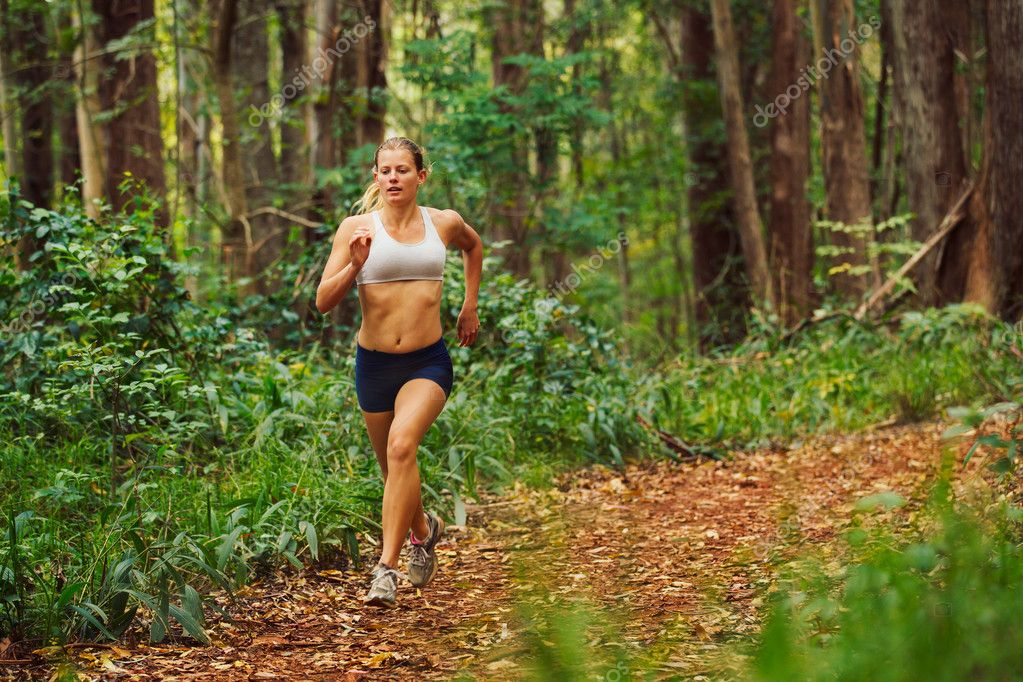 Фотообои Woman Running in the Forest