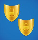 Vektor-Schild und Schloss-Symbol