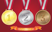 Photo Olympic medals set - gold, silver, bronze