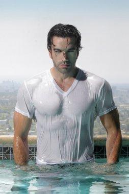 Sexy man in pool