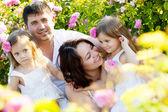 rodina v růžové květy
