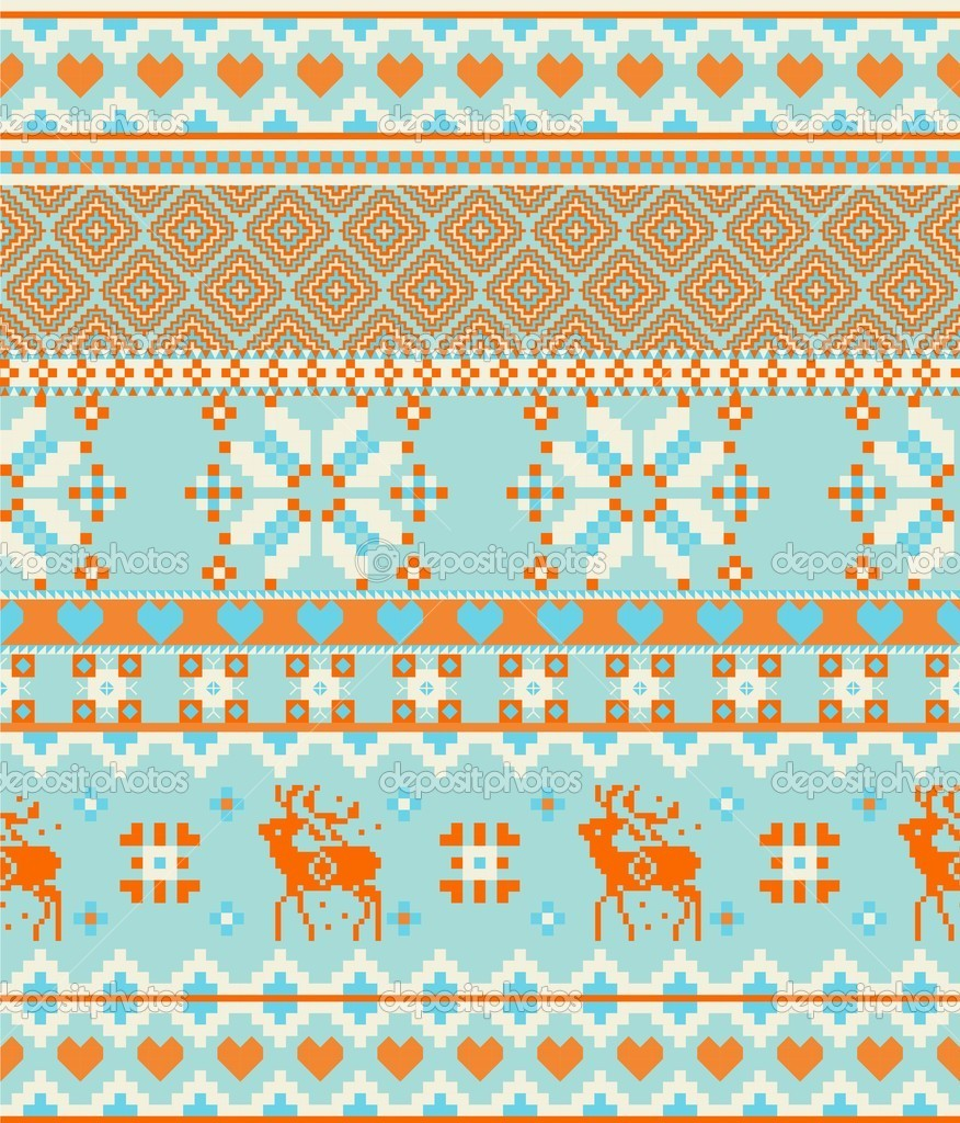 Knitting nordic Merry Christmas Scandinavian seamless pattern with deers   St...