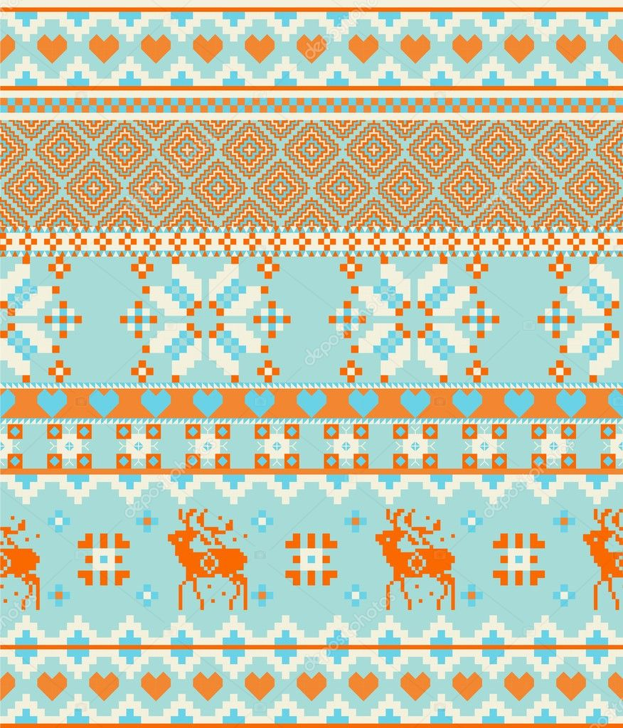 Scandinavian Knitting Patterns : Knitting nordic Merry Christmas Scandinavian seamless pattern with deers   St...