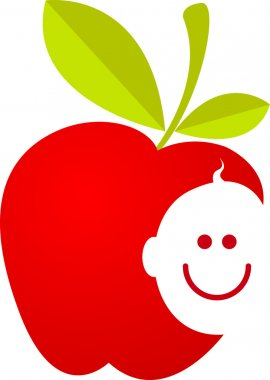 Apple with baby smiling face